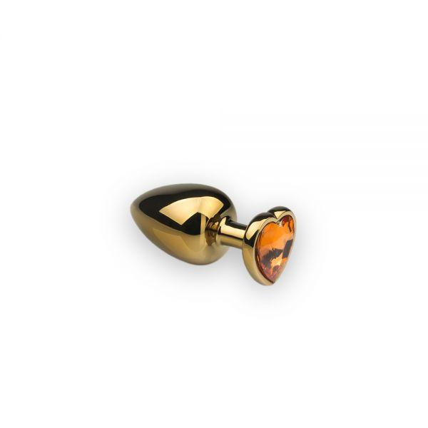 Анальная пробка из металла Сердце-Цитрин, S