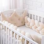Бортик-косичка в дитяче ліжечко бежево-молочного кольору, фото 2