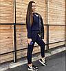 Шикарный спортивный прогулочный повседневный костюм весенний трикотажный синий, фото 3