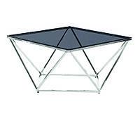 Стол журнальный CР-1 тонированное стекло+серебро