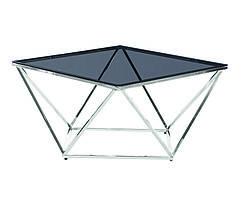 Стіл журнальний СР-1 тоноване скло + срібло хром