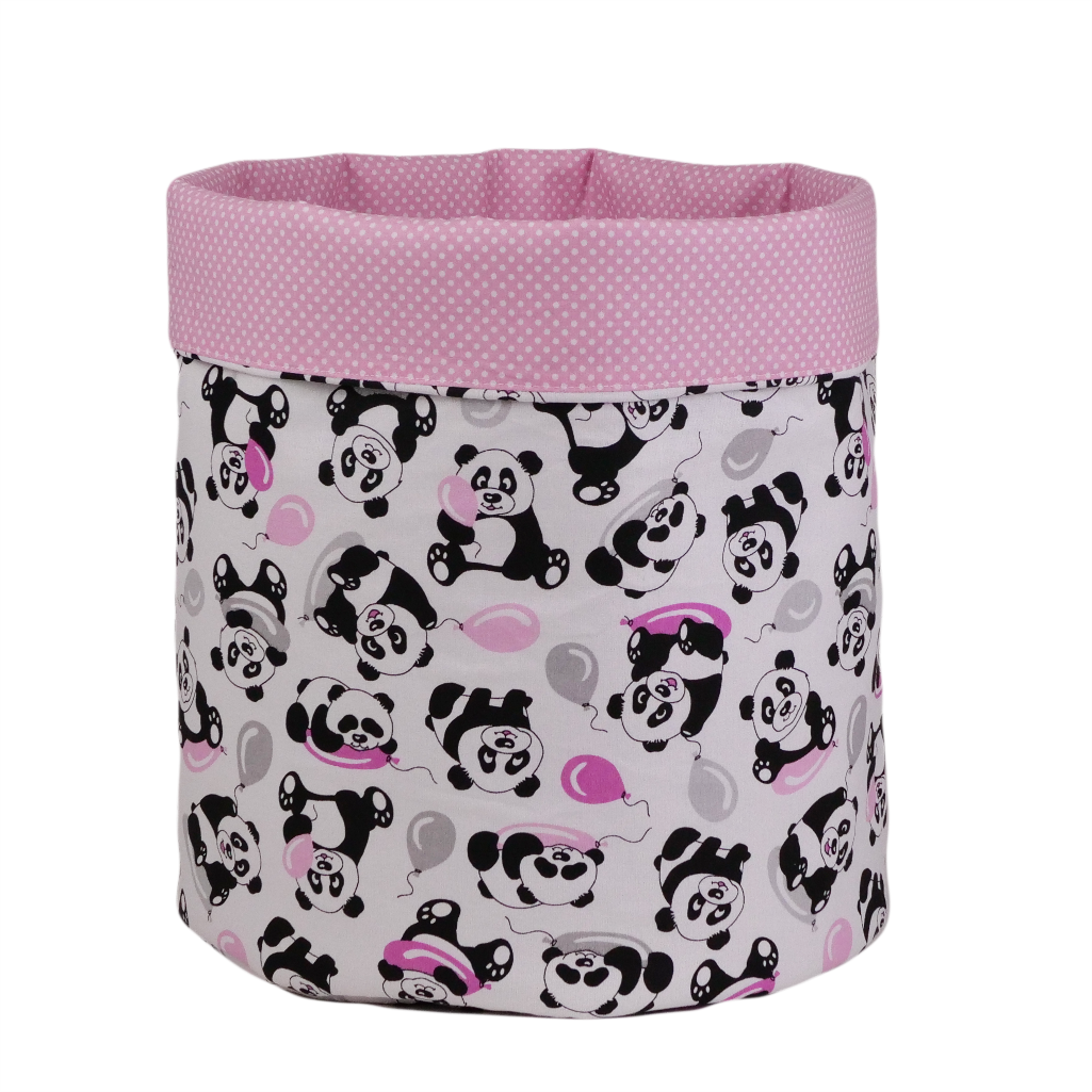 Мішок для зберігання, Ø35*45 см, (бавовна), з відворотом (панди з кульками/горох на рожевому)