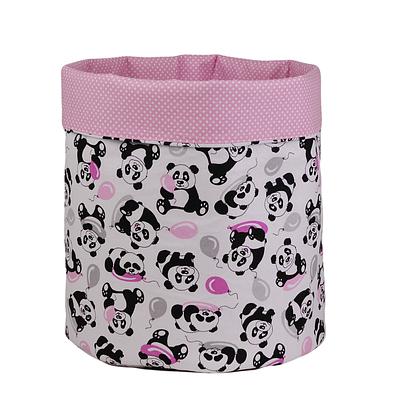 Мешок (корзина) для хранения, Ø35 * 45 см, (хлопок), с отворотом (панды с шариками / горох на розовом)