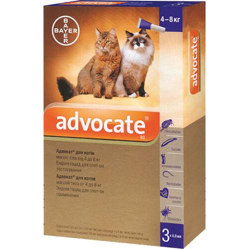Капли от блох, блошиный дерматит, отодектоза Bayer Advocate для котов от 4 до 8 кг, цена за 1 пипетку