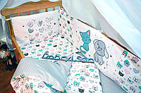 Защита-бортики в кроватку для новорожденных Добрый Сон от комплекта Леко 4 шт Котики (1-06-1/5)
