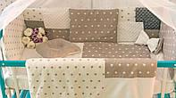 Защитные бортики в кроватку Добрый Сон от комплекта Есо 3 Minky 8 шт бело-серые звезды (1-03-1/1)