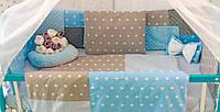 Защитные бортики в кроватку Добрый Сон от комплекта Есо 3 Minky 8 шт серо-голубые звезды (1-03-1/2)
