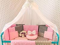 Защитные бортики в кроватку Добрый Сон от комплекта Есо 3 Minky 8 шт серо-розовые звезды (1-03-1/4)