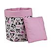Мішок ( корзина )  для зберігання, Ø35*45 см, (бавовна), з відворотом (панди з кульками/горох на рожевому), фото 3