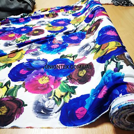 Ткань супер софт принт крупные цветы на белом, фото 2