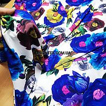 Ткань супер софт принт крупные цветы на белом, фото 3