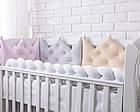 Бортик-корона в детскую кроватку серого цвета, фото 5