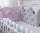 Бортик-корона в детскую кроватку серого цвета, фото 3