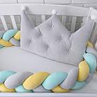 Бортик-корона в детскую кроватку серого цвета, фото 6