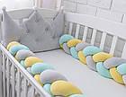 Бортик-корона в детскую кроватку серого цвета, фото 4