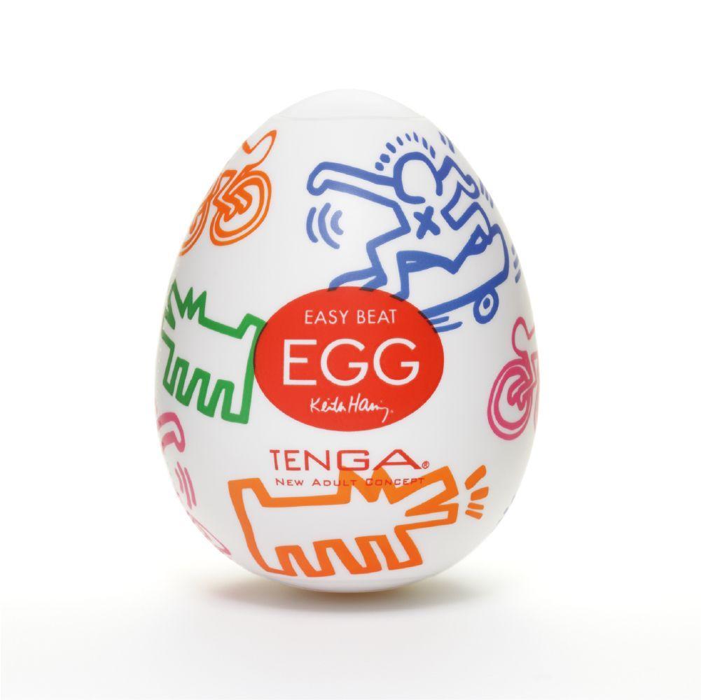 Яйцо-мастурбатор Keith Haring EGG Street от Tenga, одноразовое