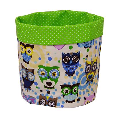 Мешок (корзина) для хранения, Ø35 * 45 см, (хлопок), с отворотом (сказочные совы голубые / горох на зеленом)