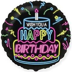 "Фол шар Flexmetal 18"" Круг ХБ Неоновая надпись Wish You a Happy Birthday Черный (ФМ)"