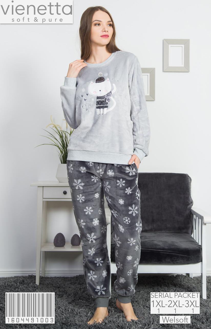 Комплект женской домашней одежды, рваная махра  (кофта длинный рукав+штаны) Vienetta