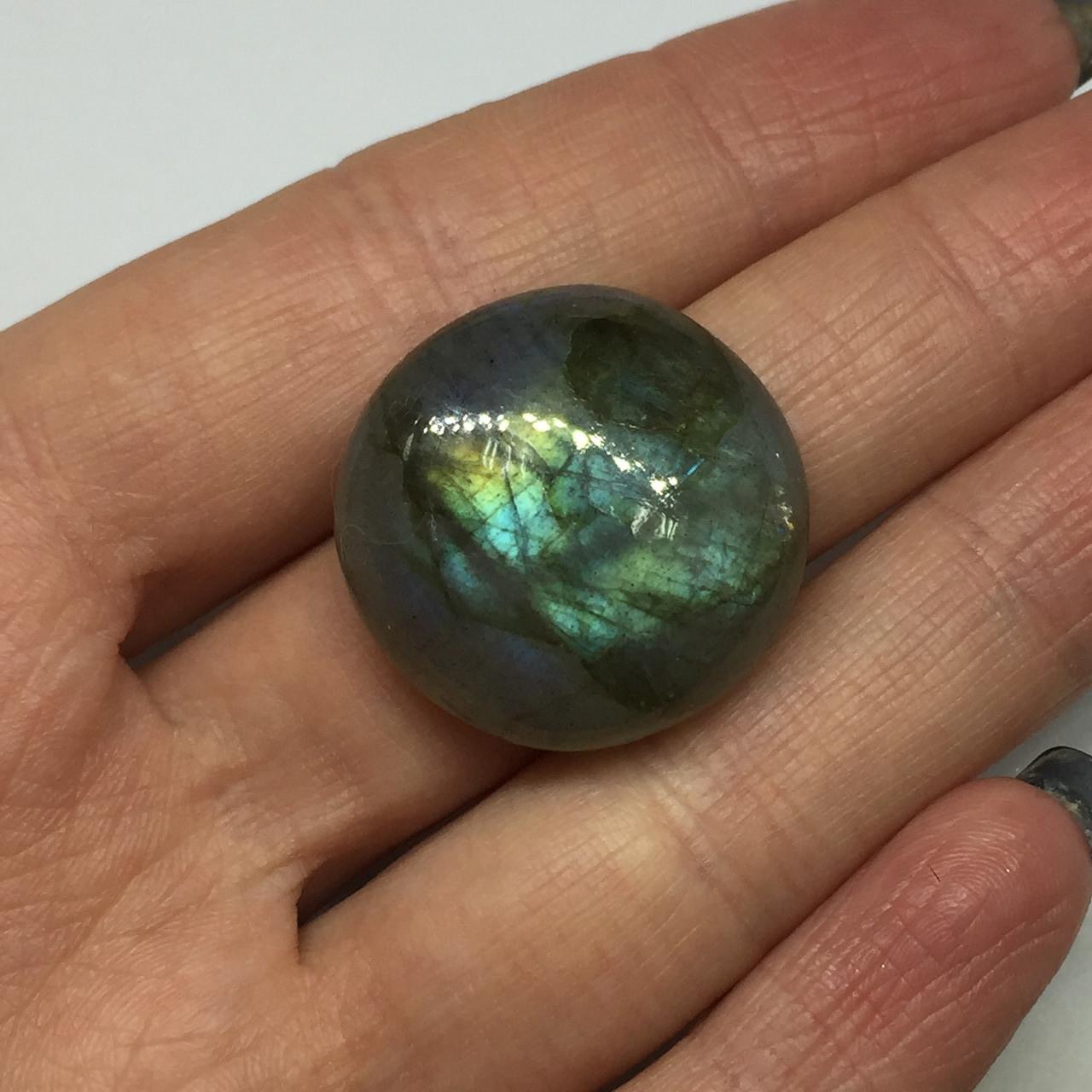 Лабрадор кабошон камень круг без оправы 24 мм. натуральный лабрадор Индия
