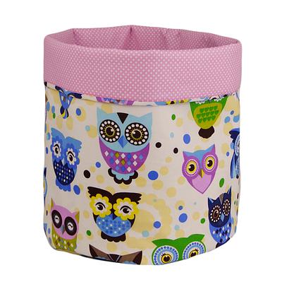 Мешок (корзина) для хранения, Ø35*45 см, (хлопок), с отворотом (сказочные совы голубые / горох на розовом)