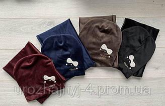 Велюровый набор шапка и хомут на подкладке х/б р50-52 уп 5шт