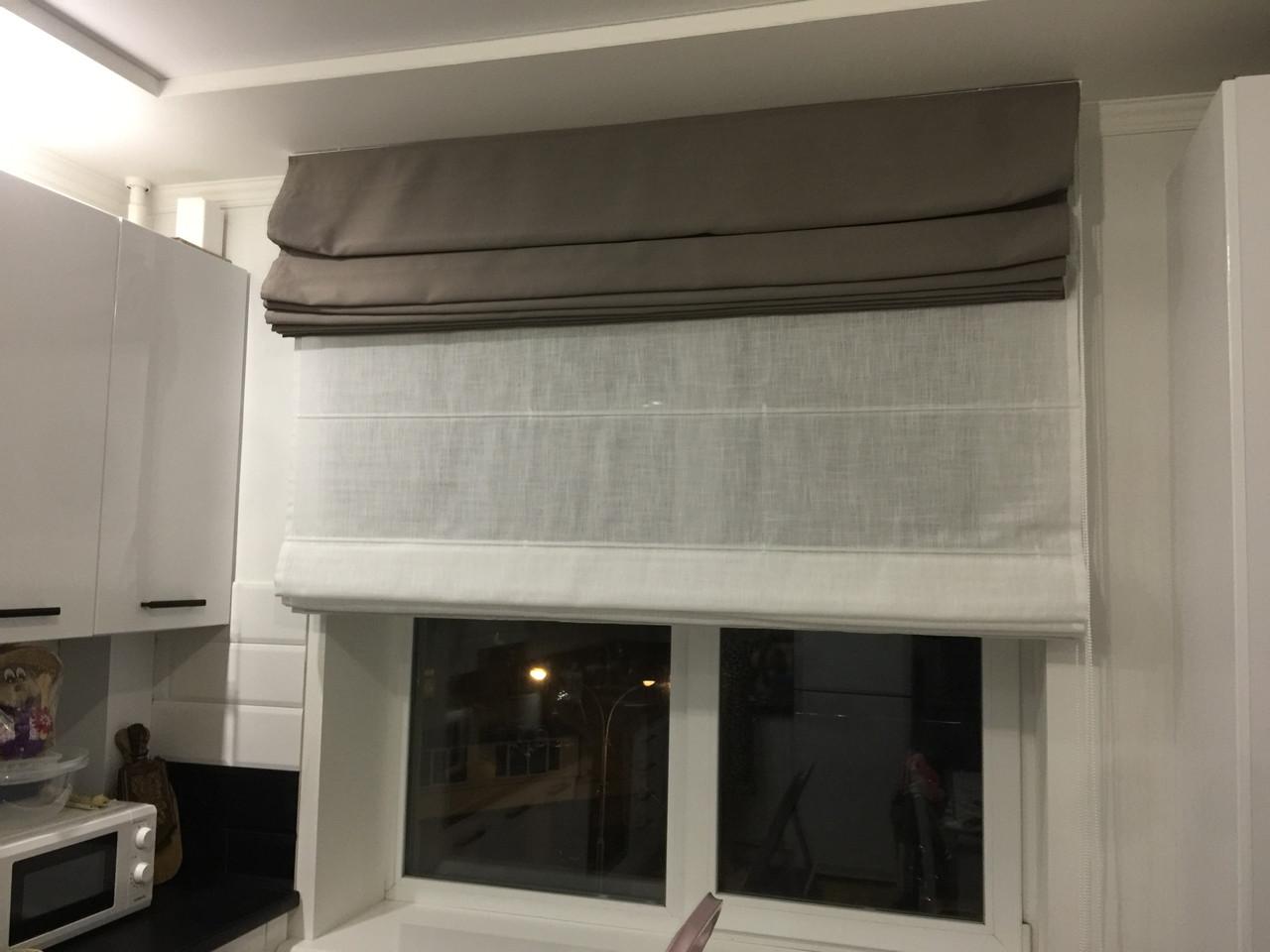 Римские шторы с ткани на балкон