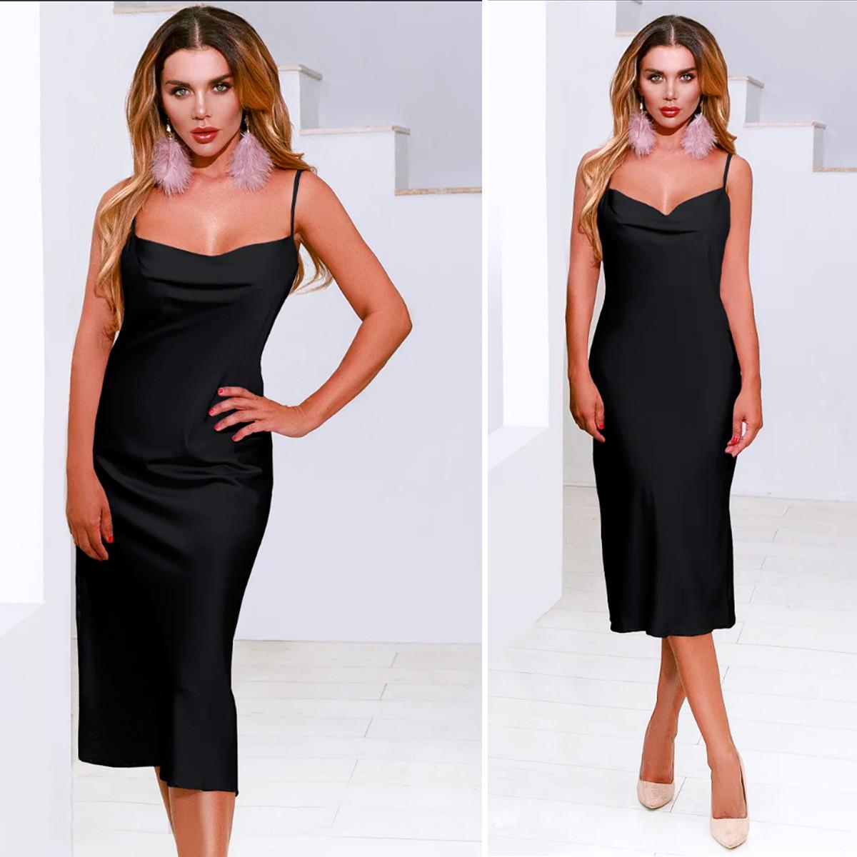Черное платье в бельевом стиле (Код MF-200)