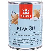 Универсальный лак, лак для мебели, полуматовый лак, Tikkurila Kiva 30, лак для дерева, 0,9л