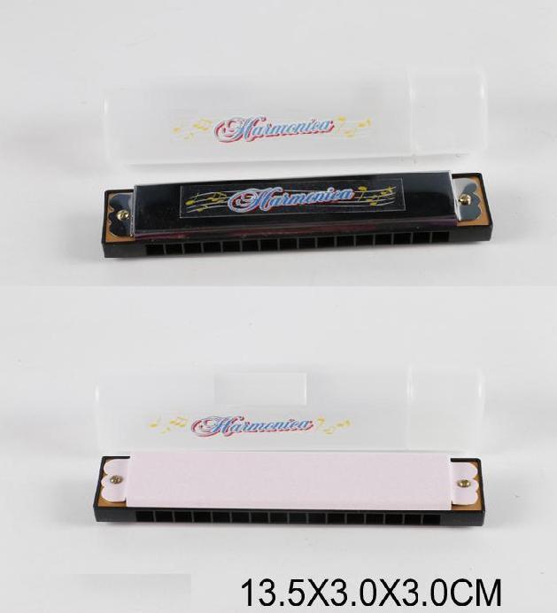 Губная гармошка 9816K1, 2 цвета,в футляре 13,5*3*3см