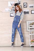 Стильные джинсы - комбинезон с потертостями, фото 1