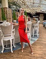 Платье облегающее миди в стиле леди лайк красное