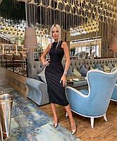 Платье облегающее миди в стиле леди лайк черное