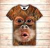 Футболка с принтом 3D Monkey Kiss (футболка Big Face)