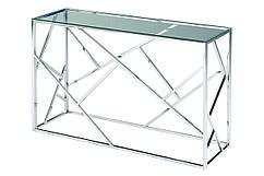 Консоль CF-3 прозорий, метал + срібло, скло тоноване