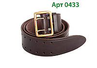 Ремень офицерский кожаный коричневый КИЕВ ( пряжка латунь)