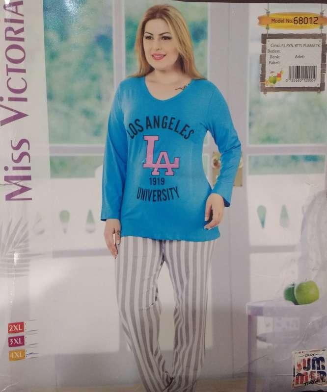 Комплект женской домашней одежды,  (футболка длинный рукав+штаны), оптом ПАК/3 шт (2XL-4X) Mis. Victoria