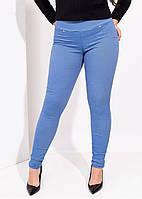 Женские голубые стрейчевые джинсовые лосины с утяжкой средней посадки размер XL+