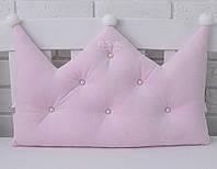 Бортик-корона в детскую кроватку бледно-розового цвета
