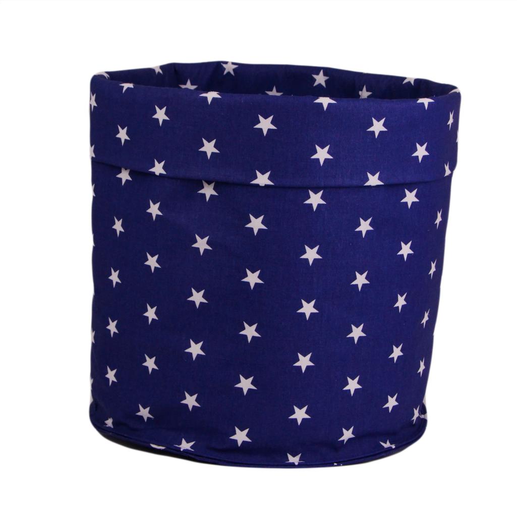 Мешок (корзина) для храниения, Ø35*45 см, (хлопок), с отворотом (звездочки на синем/звездочки на синем)