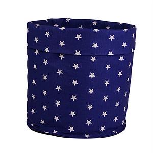 Мішок ( корзина )  для зберігання , Ø35*45 см, (бавовна), з відворотом (зірочки на синьому+зірочки на синьому)