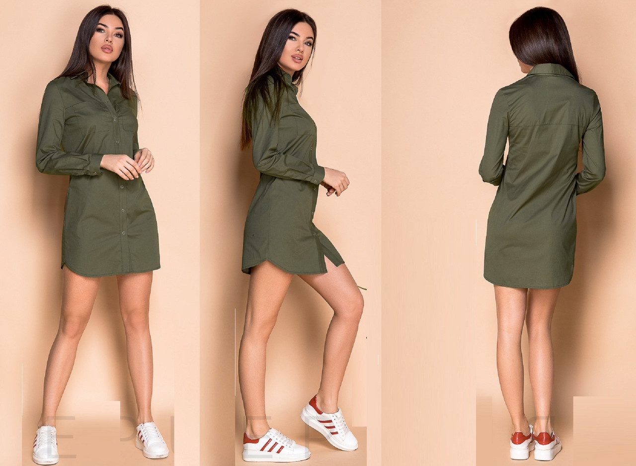 Короткое платье-рубашка из коттона GR 30043