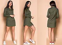 Короткое платье-рубашка из коттона GR 30043, фото 1