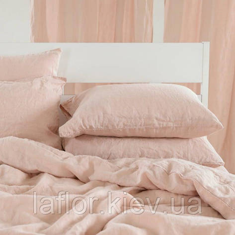 Комплект постельного белья евро лен 220 х 200 пыльно-розовый цвет, фото 2