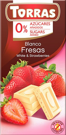Шоколад TORRAS Fresas (Білий з полуницею), 75г