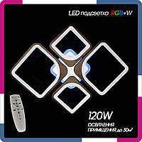 """Люстра светодиодная с пультом """"Квадраты 2+2s"""" 120Вт черная LED подсветка RGB+W"""