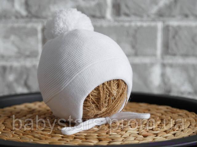 """Вязаная шапка """"Albie"""", белая с трикотажной подкладкой"""