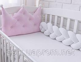 Бортик-корона і потрійна косичка 120 см, колір рожевий з білим