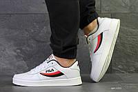 Мужские осенние кроссовки Fila,белые с черным/красным