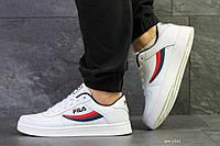 Мужские осенние кроссовки Fila,белые с синим/красным